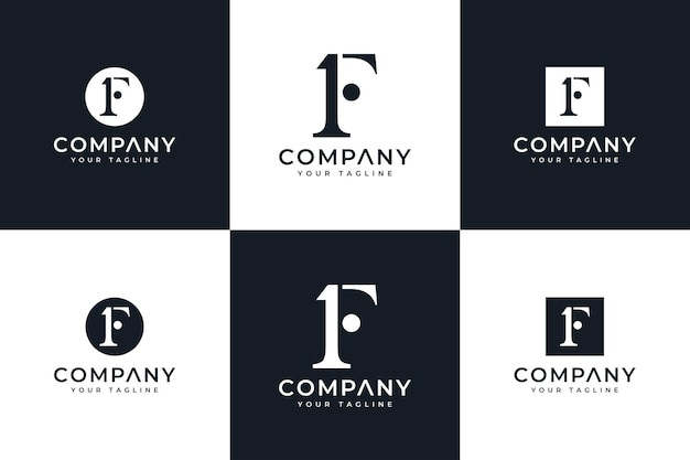 Set of initial 1f logo creative design for all uses
