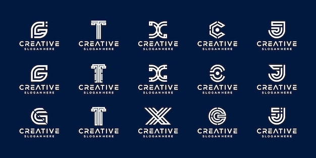 Set of initial combined letter t c x g logo design logo template