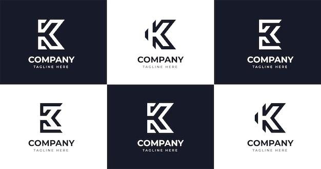最初のk文字のロゴデザインテンプレートラインコンセプトイラストを設定します。