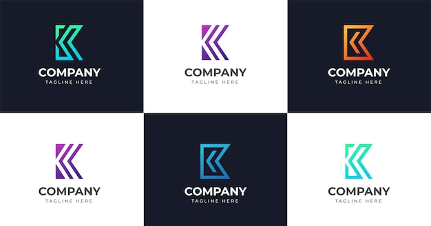 最初のk文字のロゴデザインテンプレート、ラインコンセプトを設定します。