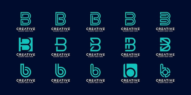 Set of initial letter b abstract logo design template