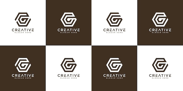 Set of initial letter g abstract vector logo design template. creative typographic concept icon