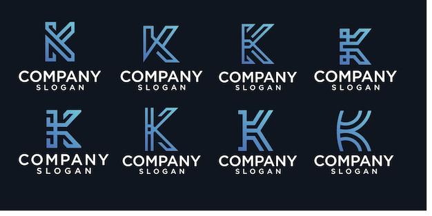 초기 문자 k 로고 디자인 템플릿 라인 개념 설정