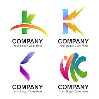 Set of initial letter k logo