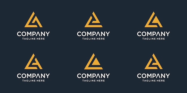 Set of initial letter la logo template. icons for business of sport, automotive, simple. vector