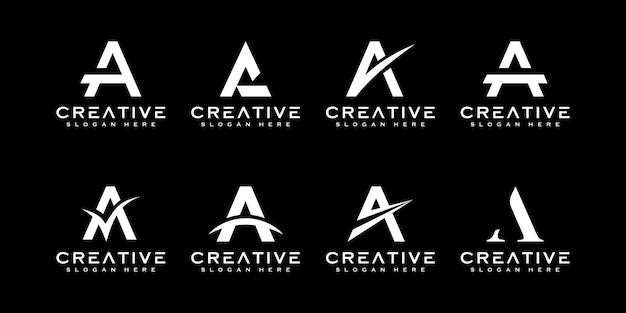 Set of initial letter a logo design template