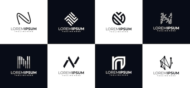 Set of initial letter n monogram logo design templates
