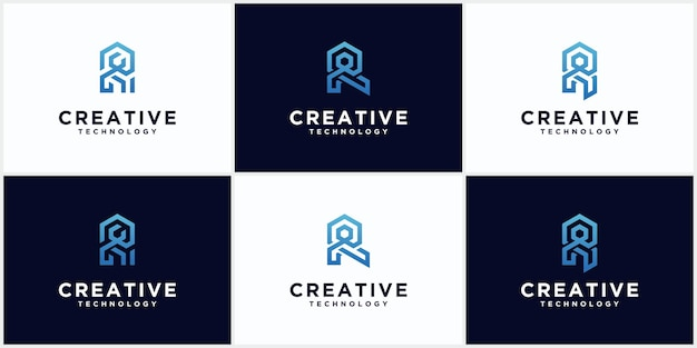 Set of initial r logo monogram negative space creative and minimalist letters, r logo editable icon design in blue color vector format