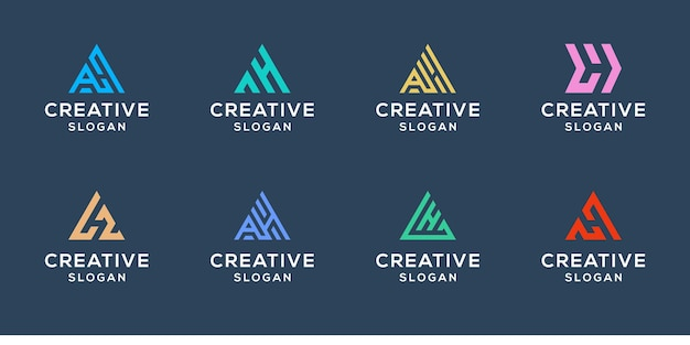Set of initials ah logo design template