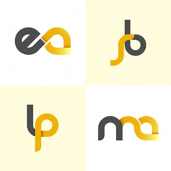 Set of initials alphabet black and yellow logo design
