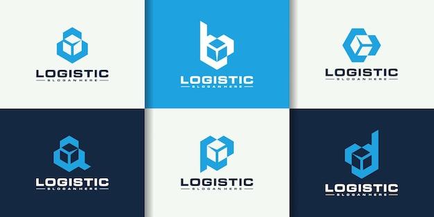 Set of initials a b c d p logo design with logistics company