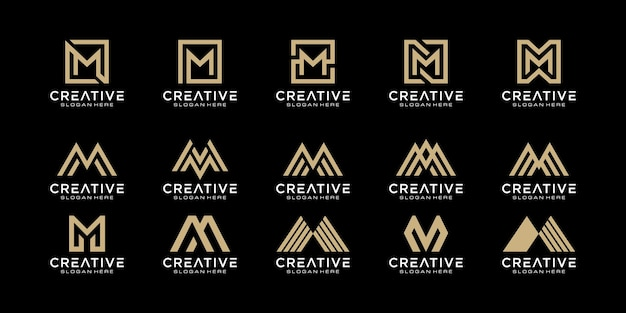 Set of initials letter m abstract logo design