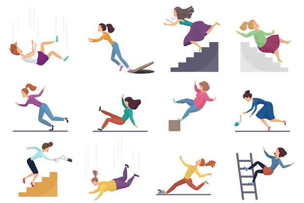 Set of injuring female woman falling down the stairs and over the edge, ladder, drop from altitude