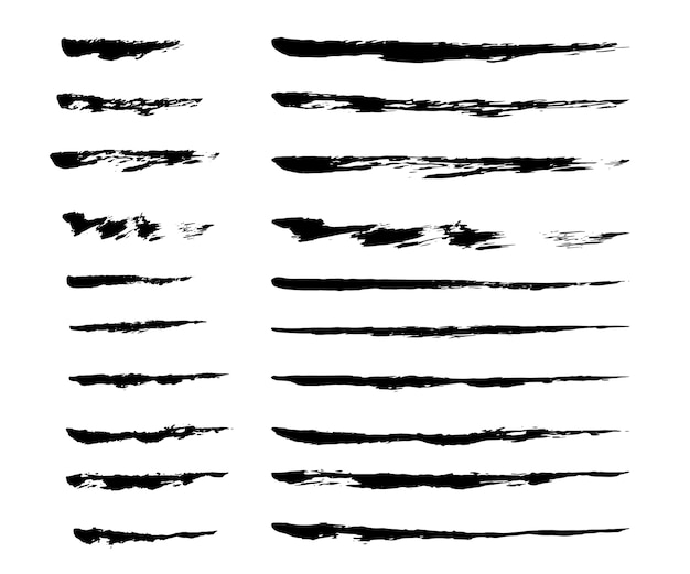 Set of ink brush strokes