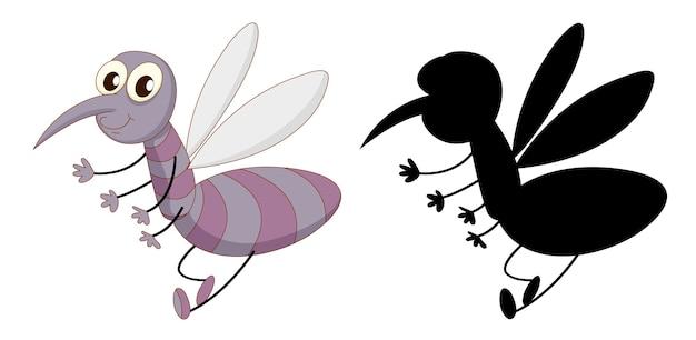 Set di personaggio dei cartoni animati di insetti e la sua silhouette su sfondo bianco