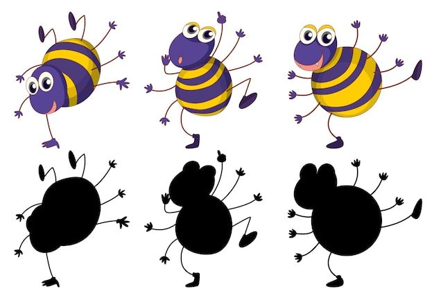 Set of insect cartoon character and its silhouette on white background