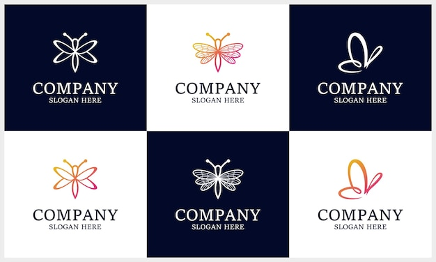 Set of insect logo, gradient dragonfly, butterfly logo design template