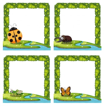 Set of insect nature border