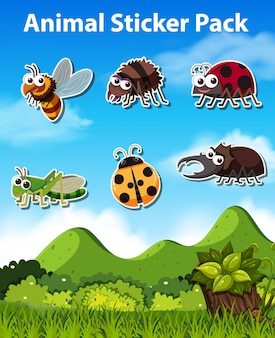 Set of insect sticker