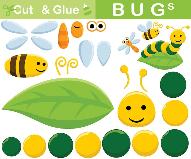 Set of insects cartoon. education paper game for children. cutout and gluing