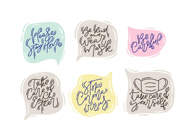 Set of inspiration lettering in speech bubble