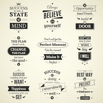 Set of inspiring success quotes typographic posters with creative life motivation