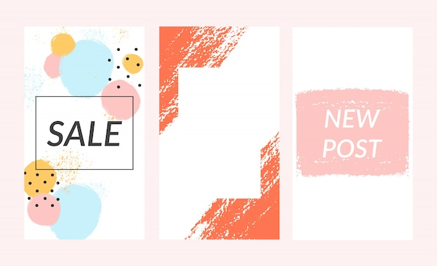 Set of insta stories template sale banner background.
