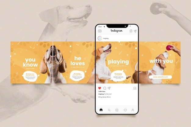 Set of instagram carousel templates