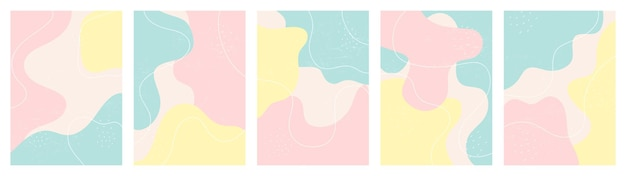 Set of instagram stories background with abstract shapes