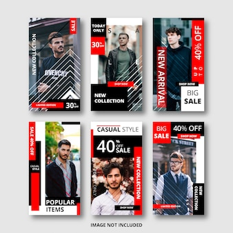 Set of instagram stories for sale banner, fashion theme
