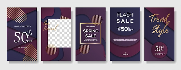 Set of instagram stories sale banner template