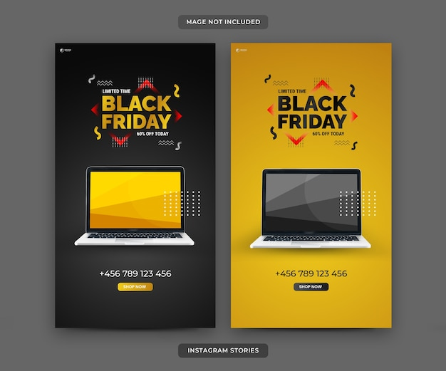 Set of instagram stories template for black friday special sale