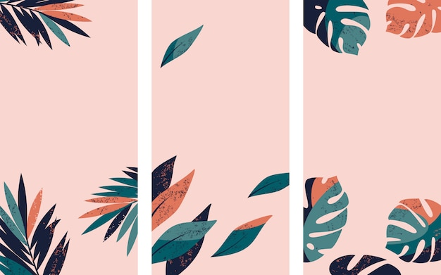Set of instagram story backgrounds with tropical palm and monstera leaves.