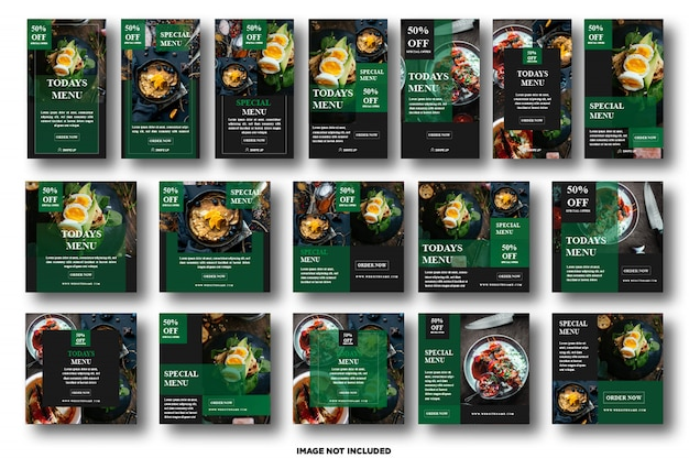 Set instagram story, social media post template for food promotion