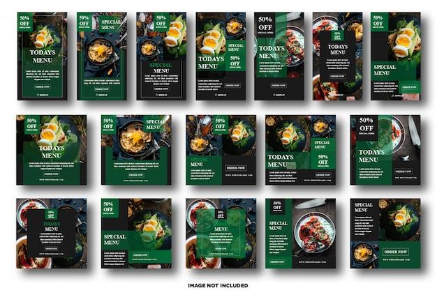 Установите instagram, шаблон сообщения в социальных сетях для продвижения еды Premium векторы