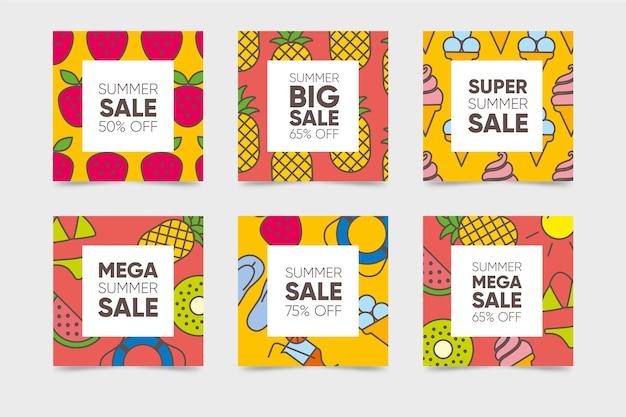 Set of instagram summer sale posts