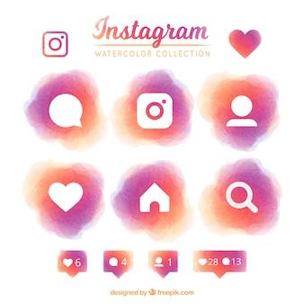 Set di instagram icone acquerello
