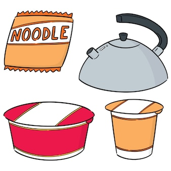 Set of instant noodle and kettle