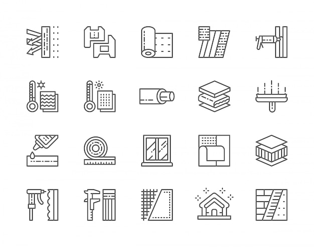 Set of insulation line icons