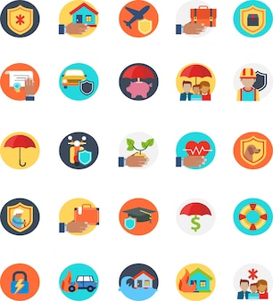 Set of insurance icon with many form