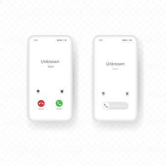 Set of interfaces for incoming calls to mobile phones. call screen smartphone template.