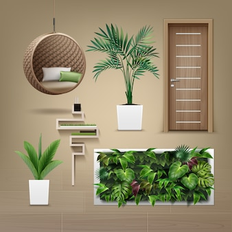 Set of interior furniture in eco-minimalism style