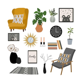 Set of interior and furniture items