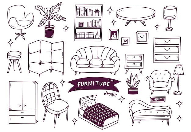 Set of interior object in hand drawn doodle style