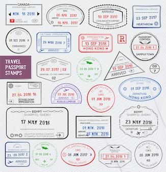Set of international travel passport stamps.