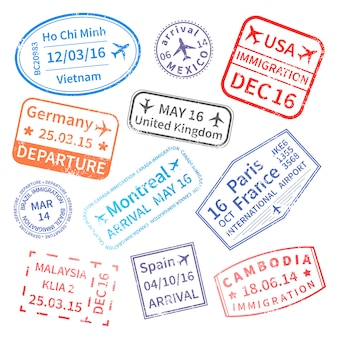 Set of international travel stamps