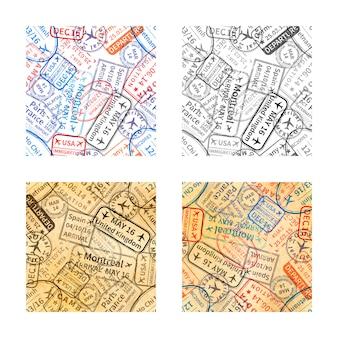 Set of international travel visa rubber stamps imprints seamless patterns