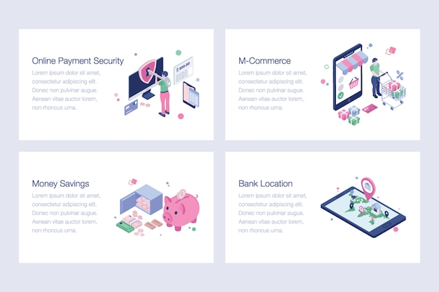 Set of internet banking illustrations