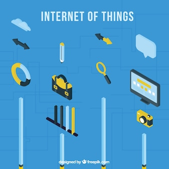 Set of internet elements in isometric style