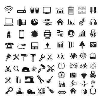 Set of internet silhouette icons